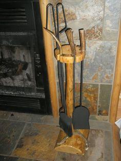 Rustic Pine Log Deer Antler Horn Fireplace Stand Tool Set Cabin Lodge Decor | eBay