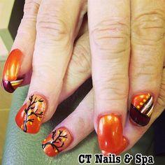 Day 306 Fall Colors Nail Art