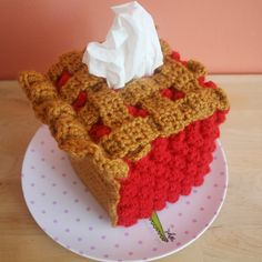 This is such a cute idea!  The tissue looks like whipped topping!  Slice of CHERRY Pie Tissue Box Cozy Made To Order by TwinkieChan, $45.00