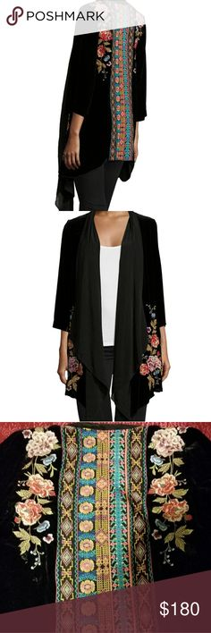 Black velvet JWLA/Johnny Kimono size small Perfect condition black velvet embroidered kimono style jacket . I think it's named Drama. I'm changing up my look and hate to part with it but it's in perfect condition Johnny Was Jackets & Coats Capes