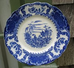 flow blue patterns | Antique Flow Blue Plate Geisha Pattern - C