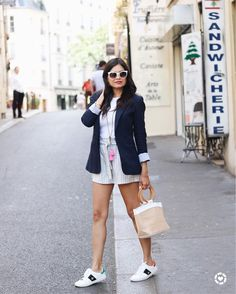 Happy Labor Day!!! Hope you are all having a great weekend! This is one of my favorite casual looks I wore in Paris. This shot was taken off of Rue Mouffetard one of my favorite streets where you'll find all kinds of stands and stores selling specialty foods wine local jewelry gifts clothes and of course outdoor cafés. We had a nice time at one of said cafés catching up with my cousin who lives just outside of the city.  Shop this look here http://liketk.it/2sBBT #liketkit @liketoknow.it