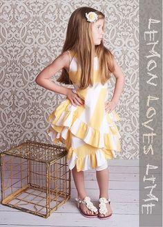Lemon Loves Lime Yellow/White Sailing Dress Set