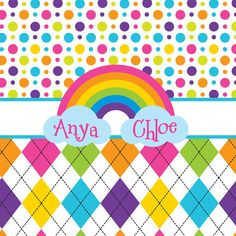 ON SALE Rainbow and argyle Sister  Personalized by PAMPERYOURSTYLE on etsy, $70.00