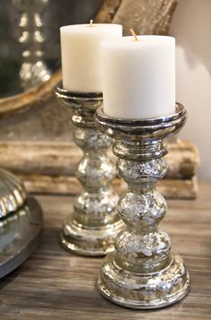 I need some sparkle in my rustic bedroom.  Want some bedside lamps in mercury glass.