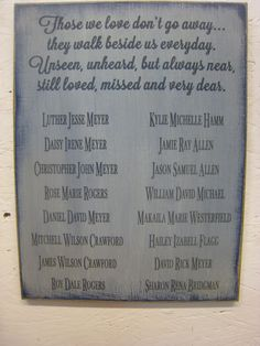 great memorial sign for weddings, family reunions or as a wall hanging among several photos