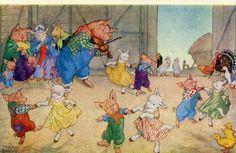 Molly Brett, Take Your Partners, Pigs, Sheep, square dance Medici Postcard PK 218