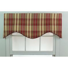 A rustic plaid print combines shades of beige and garnet red in a woven, shaped cornice valance, finished with a twisted cord along the bottom edge. Designed to be used with a 2.5-inch continental or standard rod, lend a versatile accent to your decor.
