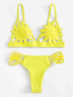 0e1835fb88 Flower Top With Ladder Cut Bikini Bikini Set, Cut Out Bikini, Bikini  Swimwear,