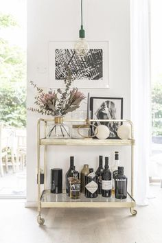 my scandinavian home: A tour of my kitchen! my scandinavian home: A tour of my kitchen! Home Bar Decor, Bar Cart Decor, Kitchen Decor, Ikea Bar Cart, Bar Kitchen, Gold Bar Cart, Brass Bar Cart, Bar Cart Styling, Bar Furniture