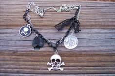 Pirate Lady Skull and Crossbones Necklace by BadGirlForeverJewels