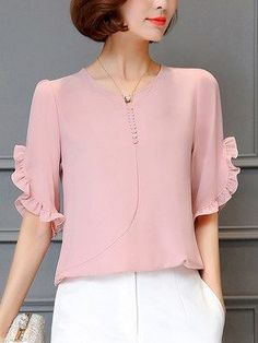 Split Neck Ruffle Trim Plain Chiffon Blouse