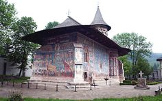 The painted church at the Monastery of Voronet, in the Bucovina region of Romania, dates back to and the reign of Stephen the Great. The Places Youll Go, Places Ive Been, Wonderful Places, Beautiful Places, Famous Castles, Moldova, Place Of Worship, Bucharest, Detailed Image
