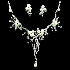 Pearls and Crystals in a Floral Vine Motif