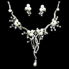 Bridal Wedding Jewelry Set Crystal Rhinestone Pearl Floral Vine Design Necklace | Your Jewelry Box