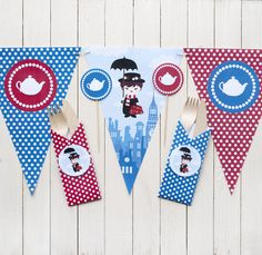 For anyone who loves big parties and DIY.  >Think Printables< provide theme graphics ready for printing and assembling. For happy patying there's nothing better than a cup of tea (milk in first, of course!) with Mary Poppins. But careful with easy laughing or you''have you tea on the ceiling!
