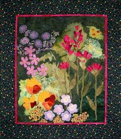 Flowers Quilted Wall Hanging  Mountain Flowers by castillejacotton