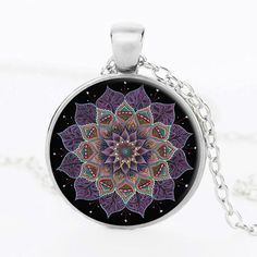 Handmade Pendant Henna Yoga Necklaces Jewelry Om Symbol Zen Buddhism Crystal Lotus Bloom Mandala Chain Necklace Best Gifts NG04