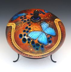 """Three Morpho Butterflies    Hand Carved and Painted Gourd  Height 7"""""""