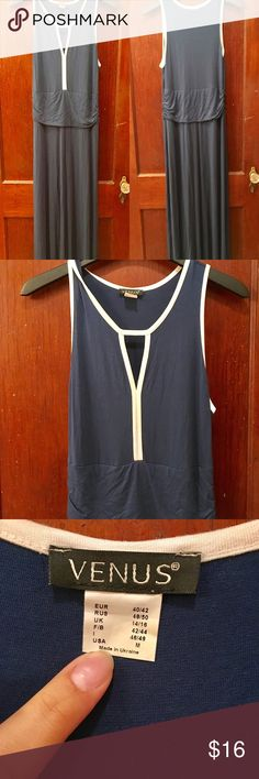 Venus blue maxi dress NWOT Venus blue maxi dress NWOT. Has stretch elasticity on the torso and white outlines arms with a white outlined keyhole in the middle on the front. Always more than willing to do bundles and offers! VENUS Dresses Maxi
