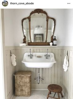 Rustic and antique blended bathroom