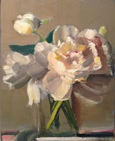 ❀ Blooming Brushwork ❀ garden and still life flower paintings - katy schneider white peonies on grey