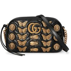 Gucci Gg Marmont Animals Studs Shoulder Bag (5.025 BRL) ❤ liked on Polyvore featuring bags, handbags, shoulder bags, purses, black, women, shoulder handbags, handbags shoulder bags, purse shoulder bag and shoulder hand bags