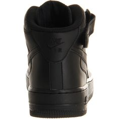 Nike Air Force 1 Mid ($68) ❤ liked on Polyvore featuring shoes, sneakers, nike, black, black leather sneakers, black ankle strap shoes, black trainers, nike sneakers and genuine leather shoes