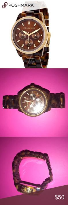 Michael Kors Jet Set Tortoise Watch Tortoise acrylic bracelet. Knurled gold-tone top ring case. Chocolate mother-of-pearl dial; crystal indexes. Three subdials; multifunction movement. Imported. Michael Kors Accessories Watches