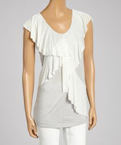 Another great find on #zulily! Rain Gray Ruffle Sleeveless Top by Rain #zulilyfinds