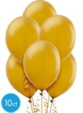 Gold Pearlized Latex Balloons 12in 10ct - Party City