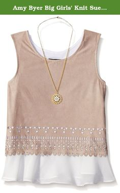 Amy Byer Big Girls' Knit Suede Sleevless Laser Cut Peekaboo Top, Taupe, Large. Knit suede to woven top with laser cut.