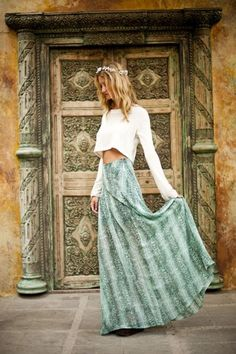 Long tie dyed boho chic maxi skirt for a modern hippie gypsy style. FOLLOW http://www.pinterest.com/happygolicky/the-best-boho-chic-fashion-bohemian-jewelry-gypsy-/ for the BEST Bohemian fashion trends in clothing & jewelry.