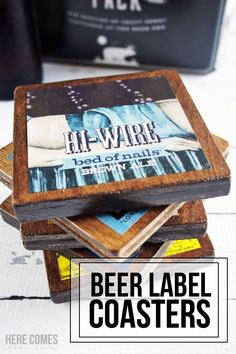 DIY Beer Label Coasters are the perfect way to display your favorite craft beers! Also makes a great gift!
