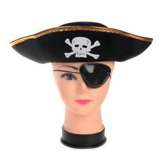 Halloween Cosplay Props Pirate Hat Eye Patch Corsair Role Play Wear