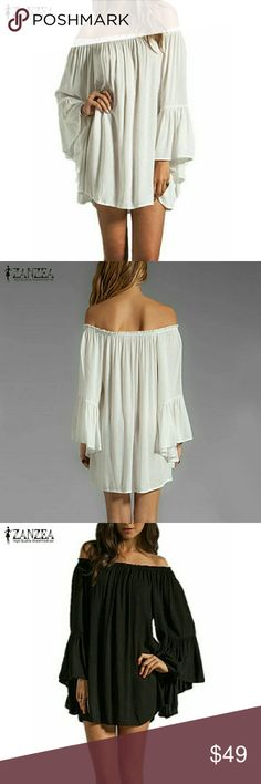 ZANZEA BOHO OFF SHOULDER LINED DRESS/TOP Gorgeous Gothic Style Lined Chiffon Off Shoulder Top/Dress in either Off White or Black. Long Bell Sleeves, Beautiful Gathered Elastic across the Chest and Off the Shoulders. I Have it in Off White, Size XL, XXL, AND XXXL. ALSO IN Black Size XL,.XXL AND XXXL. 100% POLYESTER CHIFFON OUTER SHELL, AND STRETCHY INNER LINING. ZANZEA Tops