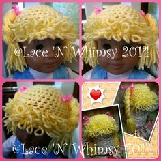Lace and Whimsy: Cabbage Patch Doll Hair Hat Wig Free Crochet Pattern for American Girl 18 inch Dolls