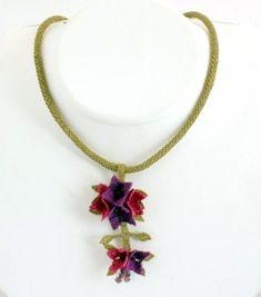 Fuchsia Flower Necklace Flower bouquet by needlecrochet on Etsy, $53.00