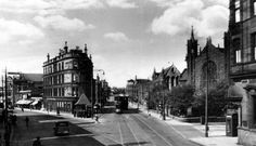Old photograph of Shawlands Cross, Glasgow , Scotland . Shawlands is a district of Glasgow, located less than 2 miles south of the River Cly...