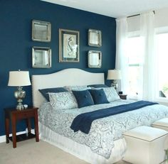 Image result for navy blue accent wall in bedroom