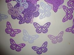 FREE SHIPPING 50 purple monarch butterfly confetti- lavendar- baby shower- table decoration- wedding- butterfly theme- customize colors. $5.25, via Etsy.