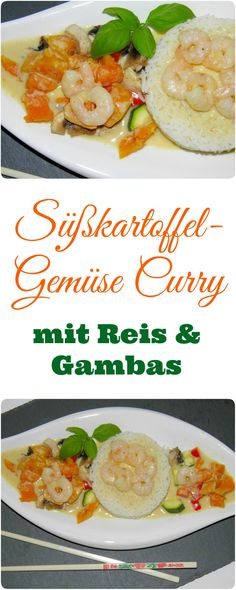 Ich mag ja Süßkartoffeln total gerne, besonders in einem Süßkartoffel-Gemüse Curry. Ohhh war das lecker – ein ganz tolles All-in-One-Gericht. Noch ein paar Garnelen mit reingemischt und fertig war das absolut perfekt Abendessen (die Vegetarier lassen natürlich einfach die Gambas weg – aber meine Kids lieben Gambas). Im Thermomix oder anderen ähnlichen Maschinen total einfach herzustellen.