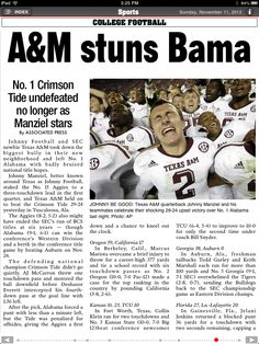 Texas Aggies crush the #1, undefeated, and defending National Champs Alabama Crimson Tide.