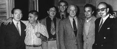 A meeting of great film composers working at 20th Century-Fox in the 1950s. From left to right: Franz Waxman, Alfred Newman, Bernard Herrmann, unknown, unknown, Alex North and Hugo Friedhofer.
