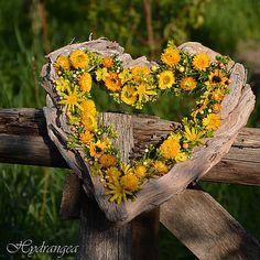 Venček na dvere - srdce - sušené kvety