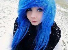 blue hair, emo, and scene girl image