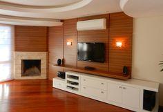 decoração de sala de visitas com lareira de canto - Pesquisa Google