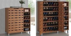 2-Door Shoe Cabinet + Open Shelves | Would be great in the basement, maybe not as tall.