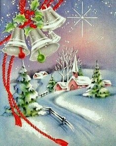 Super Ideas For Vintage Christmas Scenes New Years Old Time Christmas, Old Fashioned Christmas, Christmas Scenes, Christmas Bells, Christmas Greetings, All Things Christmas, Christmas Decorations, Christmas Ornaments, Christmas Angels