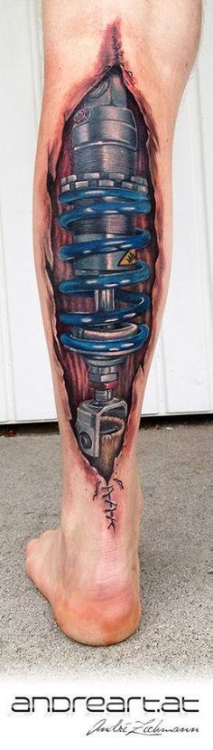 Biomech Tattoo by André Zechmann. my dad only has one complete leg. i think it'd be cool to put this on that leg.